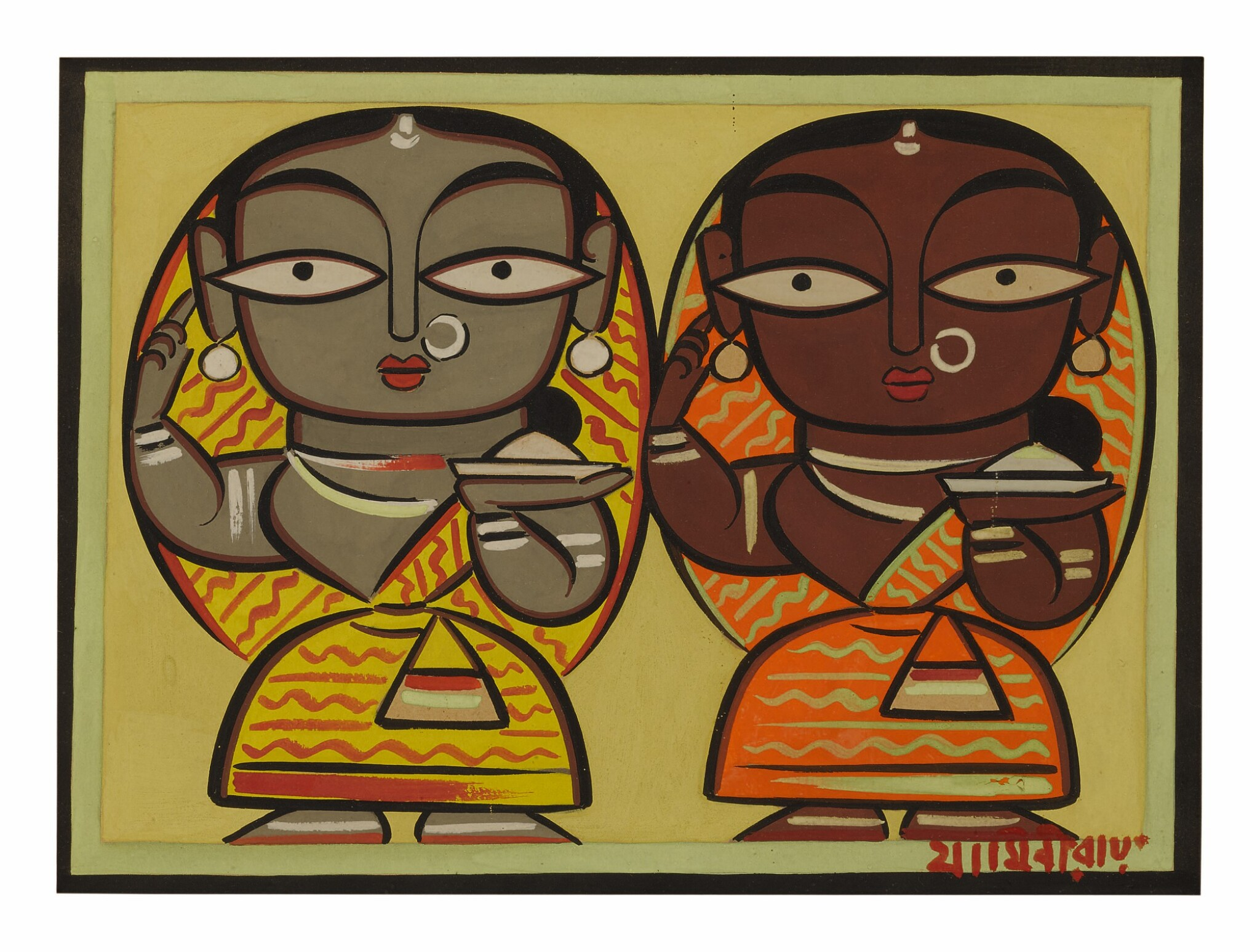 View full screen - View 1 of Lot 1806. JAMINI ROY   UNTITLED (TWO WOMEN).