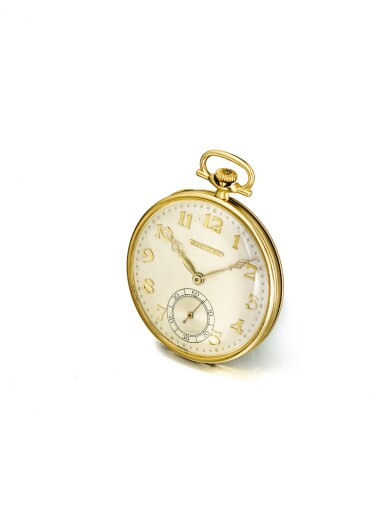 View 2. Thumbnail of Lot 58. LONGINES | RETAILED BY TIFFANY & CO.: A PLATINUM AND YELLOW GOLD OPEN FACED WATCH CIRCA 1925.
