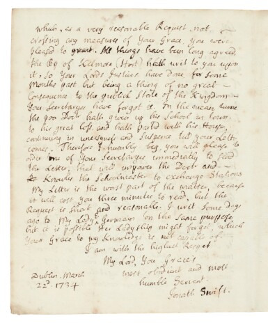 View 2. Thumbnail of Lot 243. Jonathan Swift   Autograph letter signed, to the Duke of Dorset, in support of his friend Thomas Sheridan, 22 March 1735.
