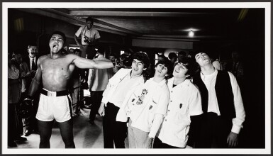 View 2. Thumbnail of Lot 27. CHRIS SMITH | Ali and the Beatles, 1964, mural-sized silver print, signed & numbered 7/20.