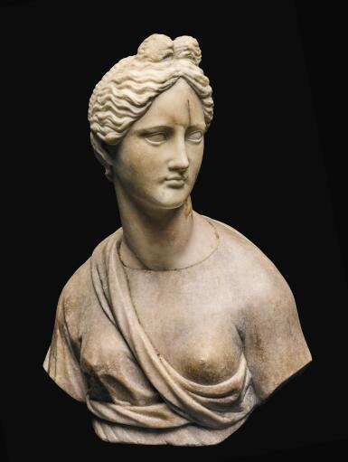 View 1. Thumbnail of Lot 32. AN ITALIAN MARBLE BUST OF A GODDESS, AFTER THE ANTIQUE, 16TH/17TH CENTURY.