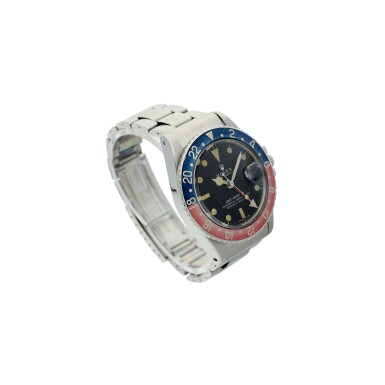 View 3. Thumbnail of Lot 98. REFERENCE 1675 GMT-MASTER 'PEPSI' A STAINLESS STEEL AUTOMATIC DUAL TIME WRISTWATCH WITH DATE AND BRACELET, CIRCA 1972.