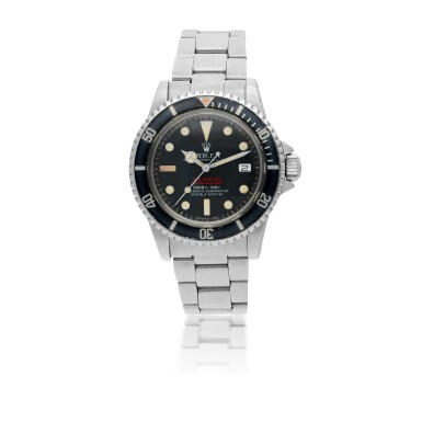 ROLEX   'DOUBLE RED' SEA-DWELLER, REF 1665  STAINLESS STEEL WRISTWATCH WITH DATE, HELIUM ESCAPE VALVE AND BRACELET CIRCA 1977