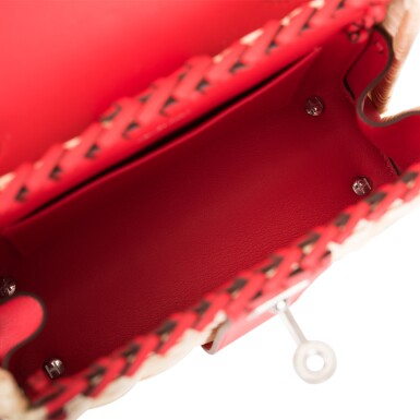 View 7. Thumbnail of Lot 184. Hermès Rare Rouge De Coeur Mini Kelly Picnic Bag of Osier Wicker and Swift Leather.