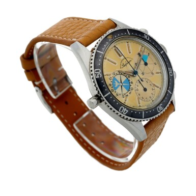 View 4. Thumbnail of Lot 13. Reference 2446 Seafarer 'Screw-back Case'  Retailed by Abercrombie & Fitch: A stainless steel chronograph wristwatch with tide indication, Circa 1963.