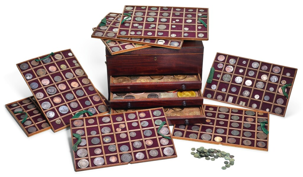 A GEORGE III MAHOGANY INLAID COLLECTORS CABINET CONTAINING A LARGE COLLECTION OF COINS AND MEDALS, ASSEMBLED IN THE 18TH AND 19TH CENTURY