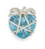 AQUAMARINE AND DIAMOND 'WRAPPED HEART' BROOCH, VERDURA