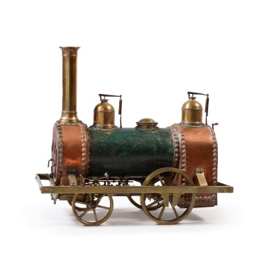 FINE AND RARE BRASS AND COPPER WITH GREEN PAINT MODEL TRAIN ENGINE, LATE 19TH CENTURY