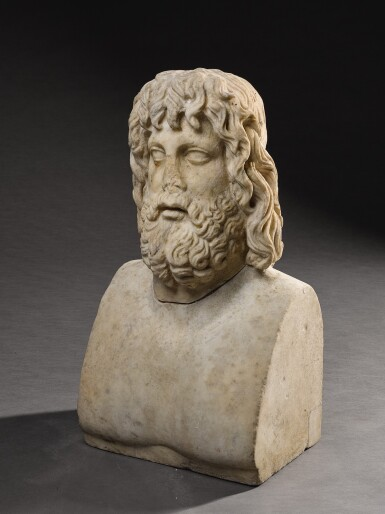 View 8. Thumbnail of Lot 32. A ROMAN MARBLE HEAD OF SARAPIS, CIRCA 2ND CENTURY A.D., ON 19TH CENTURY HERM SHOULDERS.