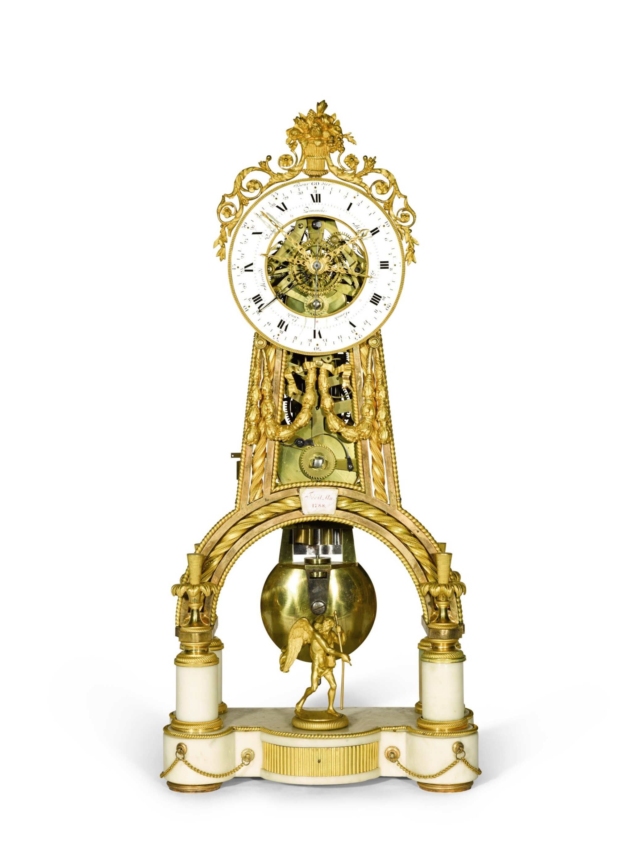 View full screen - View 1 of Lot 130. A Louis XVI gilt-bronze and white marble skeleton clock with calendar and remontoire, Jean-Simon Bourdier, Paris, dated 1788, the dial by Joseph Coteau.