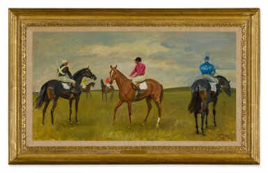 View 2. Thumbnail of Lot 56. SIR ALFRED JAMES MUNNINGS, P.R.A., R.W.S. | FIVE RACEHORSES WITH JOCKEYS UP.