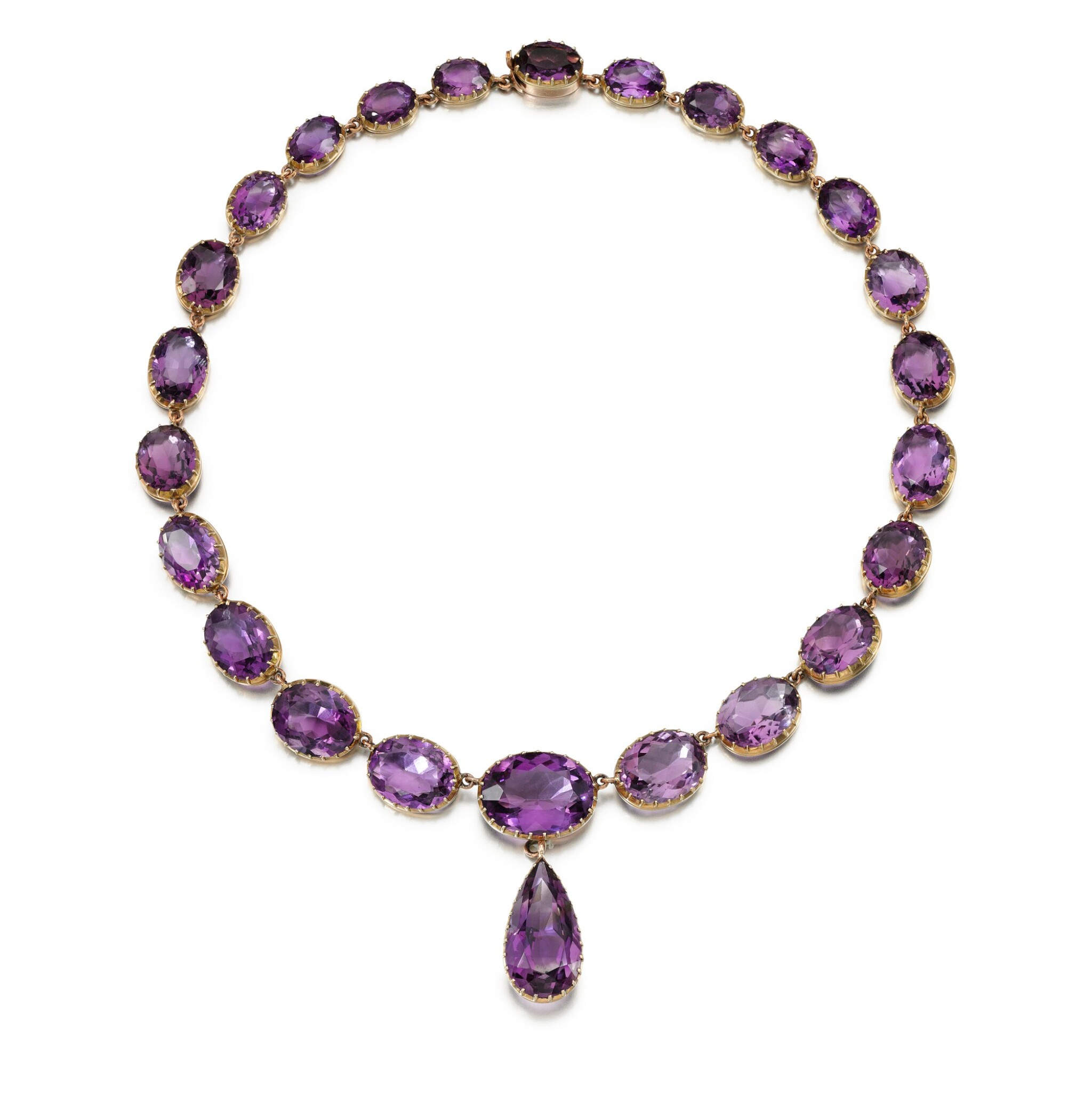 View full screen - View 1 of Lot 224. AMETHYST NECKLACE.