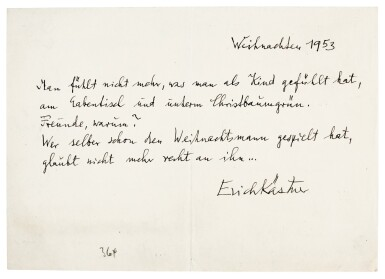 View 2. Thumbnail of Lot 27. E. Kästner. Highly important archive of correspondence to and from his publisher Kurt Maschler, 1945-1972.