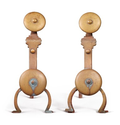View 3. Thumbnail of Lot 322. Pair of English Brass Andirons, 20th century.