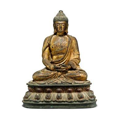 View 1. Thumbnail of Lot 44. A gilt-lacquer bronze figure of seated Buddha, 17th / 18th century.