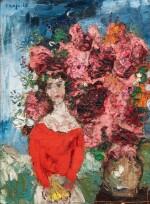 Fille au corsage rouge et bouquet