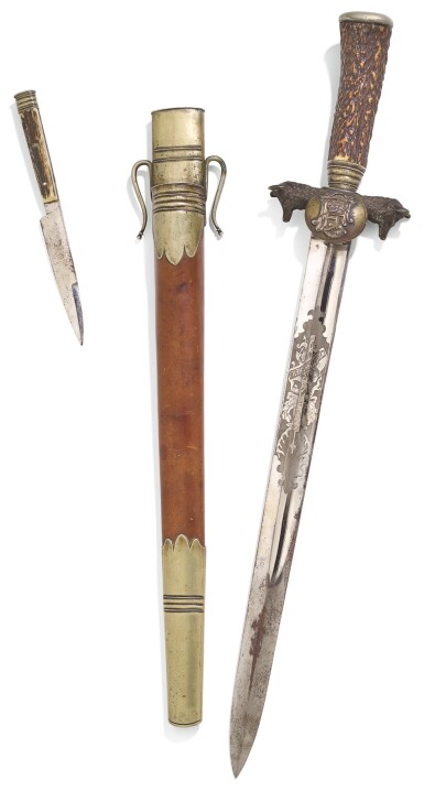 View 1. Thumbnail of Lot 106. AN IMPERIAL PRESENTATION HUNTING SWORD, BY STANISLAUS STRIBERNY, VIENNA, CIRCA 1890.