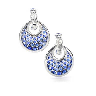 View 3. Thumbnail of Lot 1102. Pair of sapphire and diamond earrings.