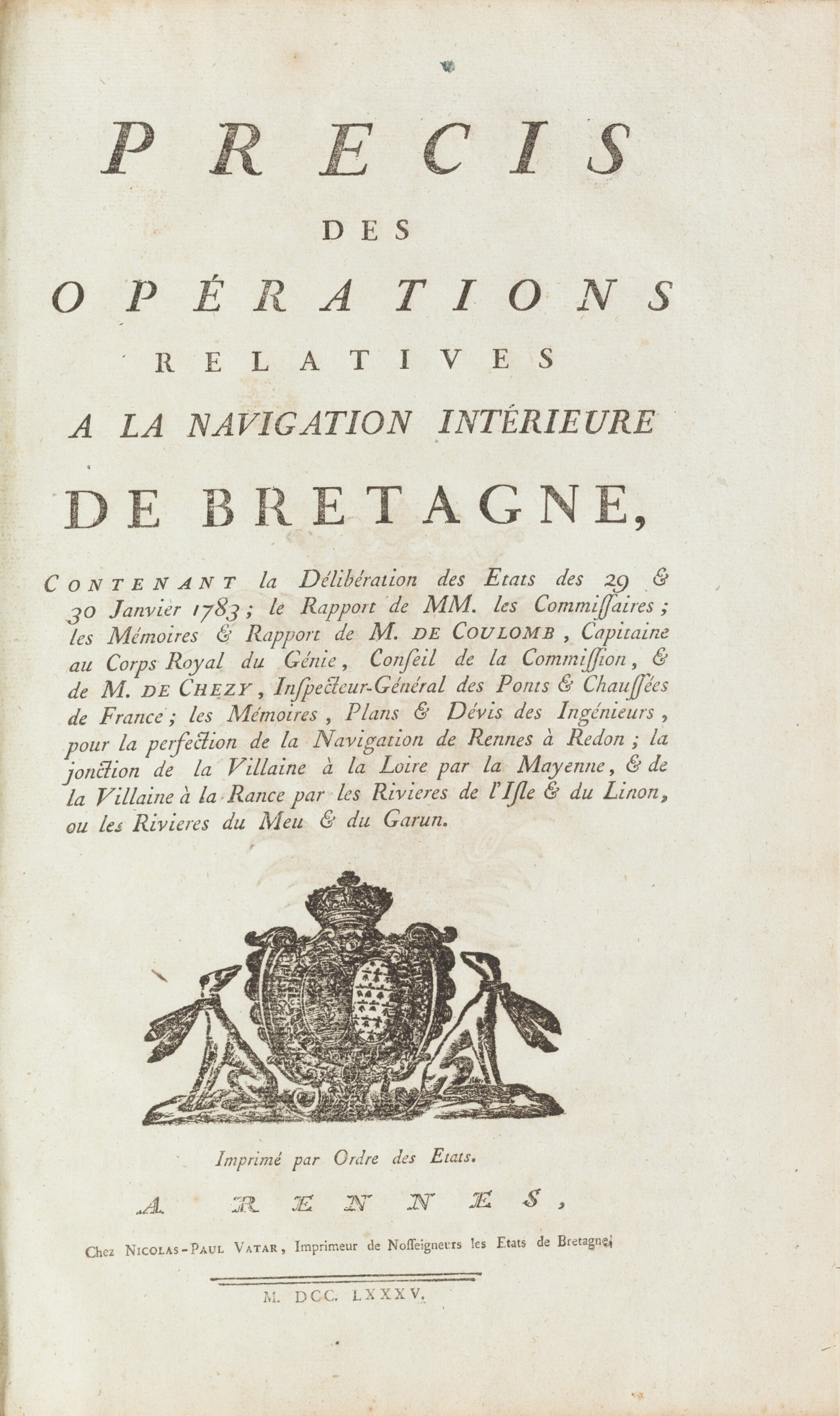 View full screen - View 1 of Lot 12. Précis des opérations relatives à la navigation intérieure de Bretagne...1785. In-fol. (veau de l'époque).
