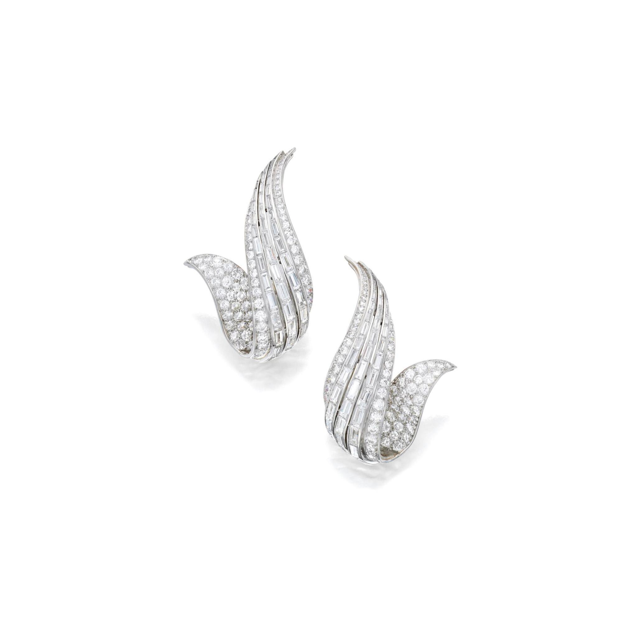 View full screen - View 1 of Lot 37. Sterlé | Pair of Diamond Earclips, France.