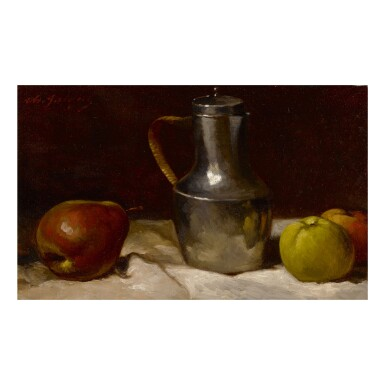 CHARLES ÉMILE JACQUE | STILL LIFE WITH FRUITS AND SILVER PITCHER