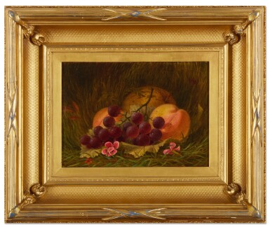 View 2. Thumbnail of Lot 12. WILLIAM MOORE DAVIS | STILL LIFE WITH GRAPES AND PEACHES .