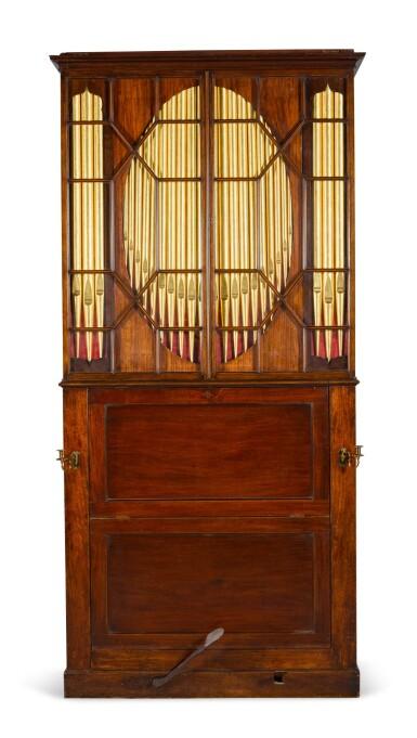 View 2. Thumbnail of Lot 167. A George III mahogany chamber organ by Hugh Russell, 1780.