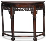 A CHINESE ROSEWOOD DEMI-LUNE SIDE TABLE, LATE 19TH CENTURY