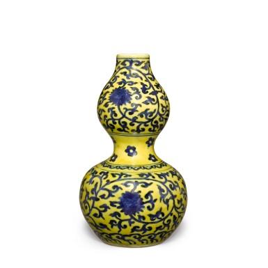 View 4. Thumbnail of Lot 83. A yellow-ground underglaze-blue 'double-gourd' vase, Mark and period of Jiajing | 明嘉靖 黃地青花纏枝蓮紋葫蘆瓶 《大明嘉靖年製》款.