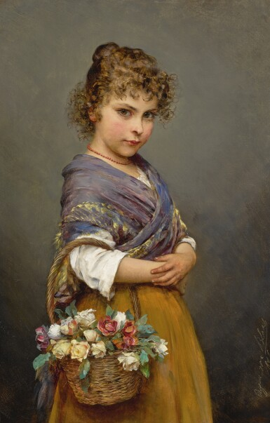 View 1. Thumbnail of Lot 782. Eugen von Blaas | YOUNG GIRL WITH A BASKET OF FLOWERS.