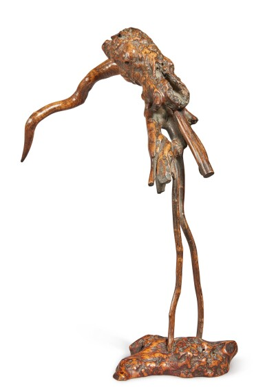 View 2. Thumbnail of Lot 1046. AN ABSTRACT ROOTWOOD FIGURE OF A CRANE,  QING DYNASTY.