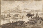 Italianate landscape with houses by a river and hills behind