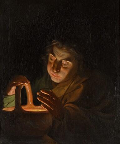 View 1. Thumbnail of Lot 7. MARTIN FERDINAND QUADAL  |  A MAN BLOWING ON A LAMP.