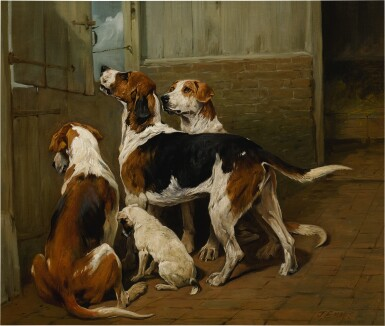 View 1. Thumbnail of Lot 59. JOHN EMMS | HOUNDS BY A STABLE DOOR.
