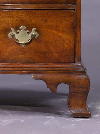 View 3. Thumbnail of Lot 1110. THE PUTNAM FAMILY VERY FINE CHIPPENDALE FIGURED MAHOGANY REVERSE-SERPENTINE CHEST OF DRAWERS, BOSTON, MASSACHUSETTS, CIRCA 1785.