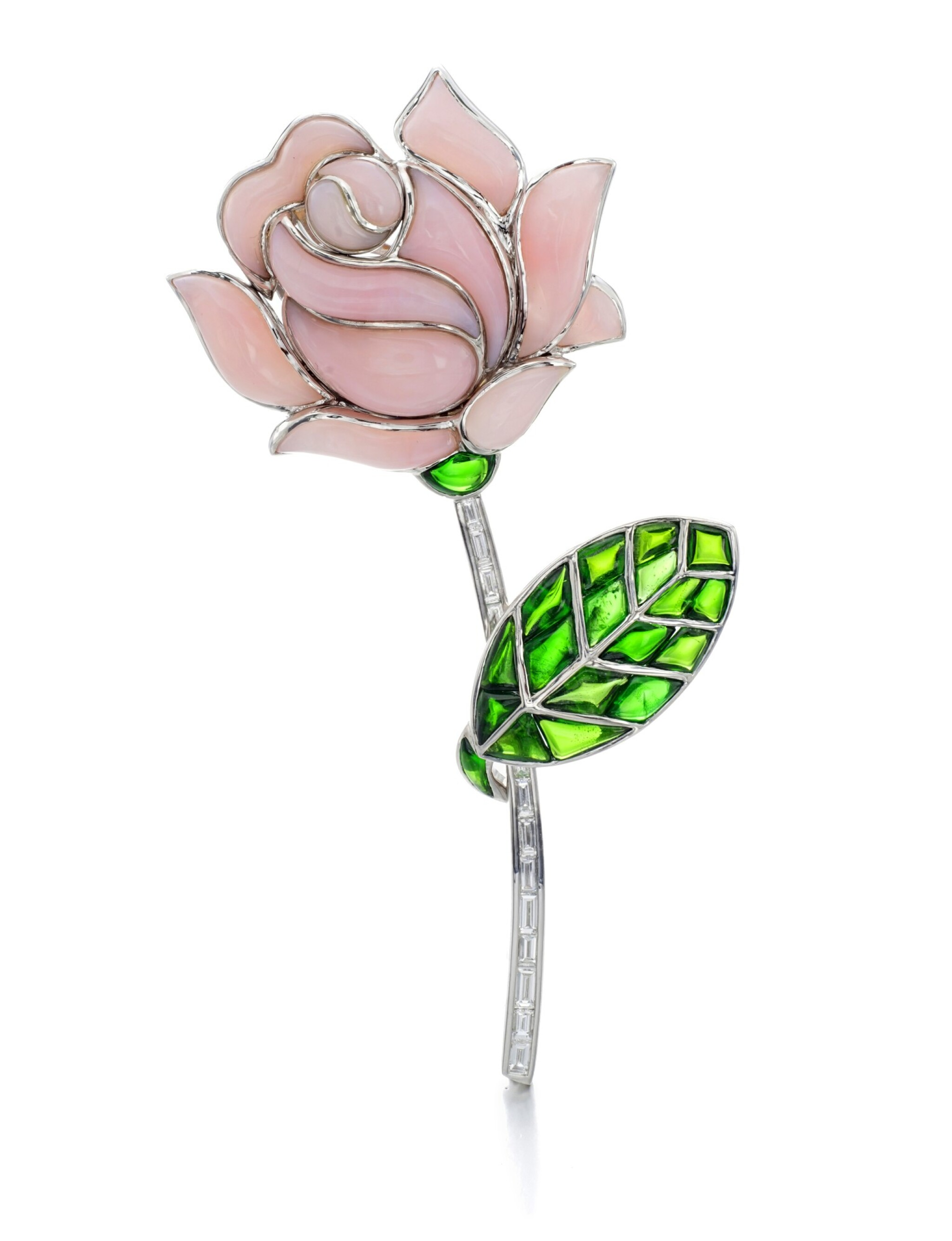 View full screen - View 1 of Lot 5. MICHELE DELLA VALLE | PINK OPAL, TOURMALINE AND DIAMOND BROOCH.