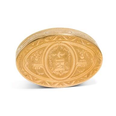 View 2. Thumbnail of Lot 314. A small gold and enamel snuff box, Hanau, circa 1780 and later.