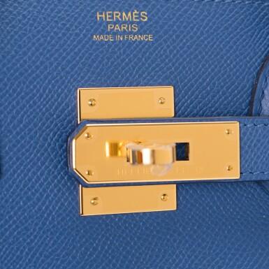 View 6. Thumbnail of Lot 9. Hermès Bleu Brighton Birkin 30cm of Epsom Leather with Gold Hardware.