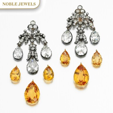 View 1. Thumbnail of Lot 155. PAIR OF TOPAZ AND DIAMOND EARRINGS, MID 19TH CENTURY AND LATER.