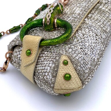 View 6. Thumbnail of Lot 707. GUCCI   TOM FORD SERPENT HEAD CLUTCH BAG IN LIZARD WITH SWAROVSKI CRYSTALS.
