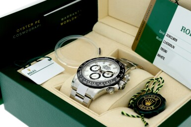 View 7. Thumbnail of Lot 16.  ROLEX | REFERENCE 116500 DAYTONA   A STAINLESS STEEL AUTOMATIC CHRONOGRAPH WRISTWATCH WITH BRACELET, CIRCA 2017 .