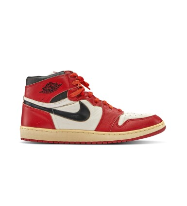 View 6. Thumbnail of Lot 1. Michael Jordan's Game Worn 1985 Player Sample Air Jordan 1s | Sizes 13, 13.5.