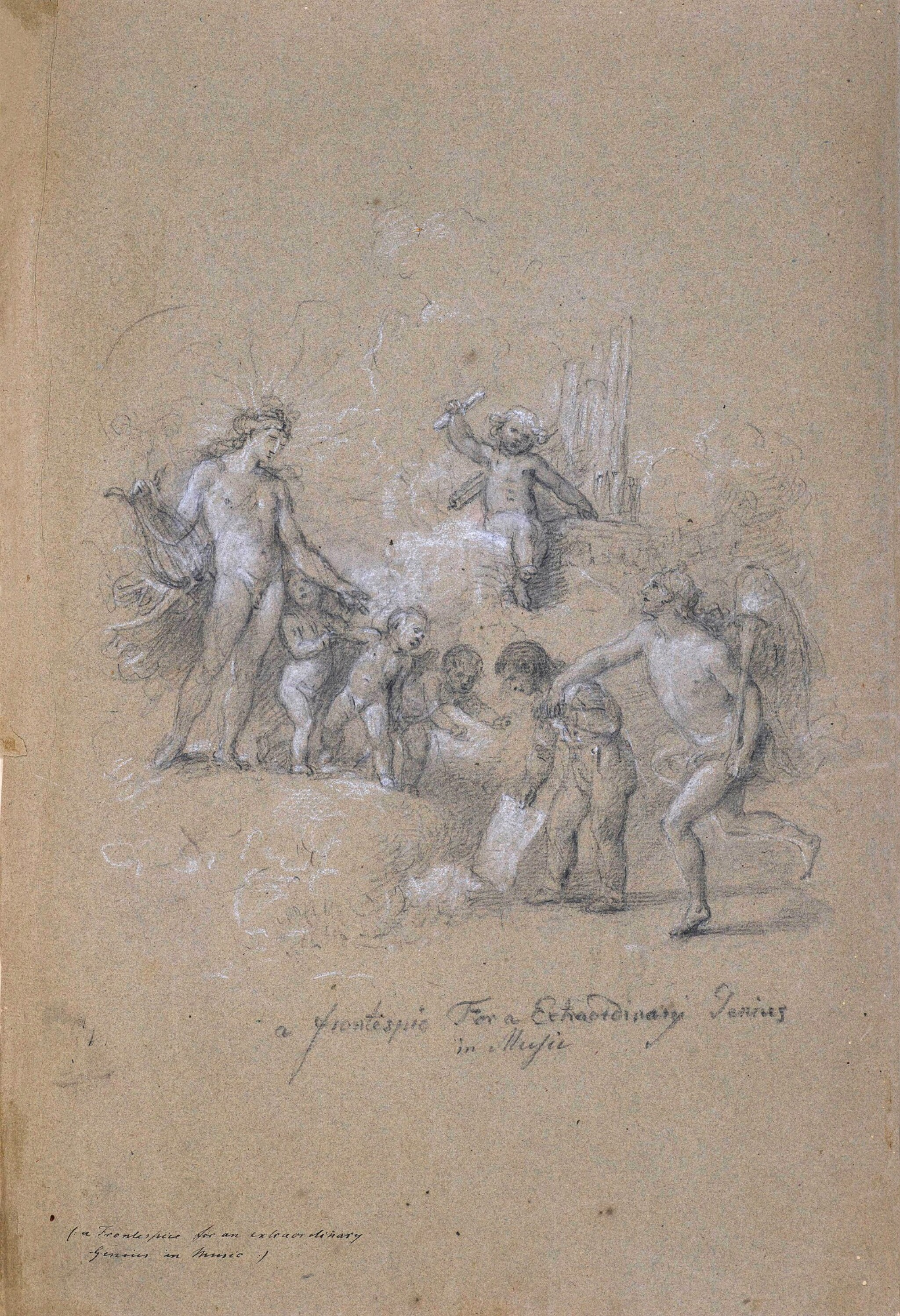 View full screen - View 1 of Lot 89. JOHAN JOSEPH ZOFFANY, R.A.   A FRONTISPIECE FOR AN EXTRAORDINARY GENIUS IN MUSIC.