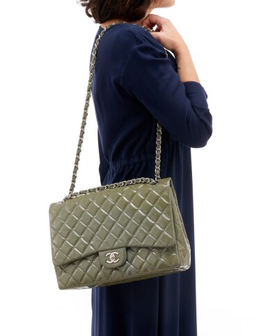View 5. Thumbnail of Lot 43. Green/grey patent leather with silver-tone metal classic shoulder bag.