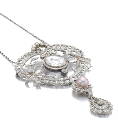 View 2. Thumbnail of Lot 678. Faint Pink diamond and natural pearl pendant/necklace combination, circa 1900 | 淡粉紅色鑽石配天然珍珠吊墜/系列組合,約1900年.