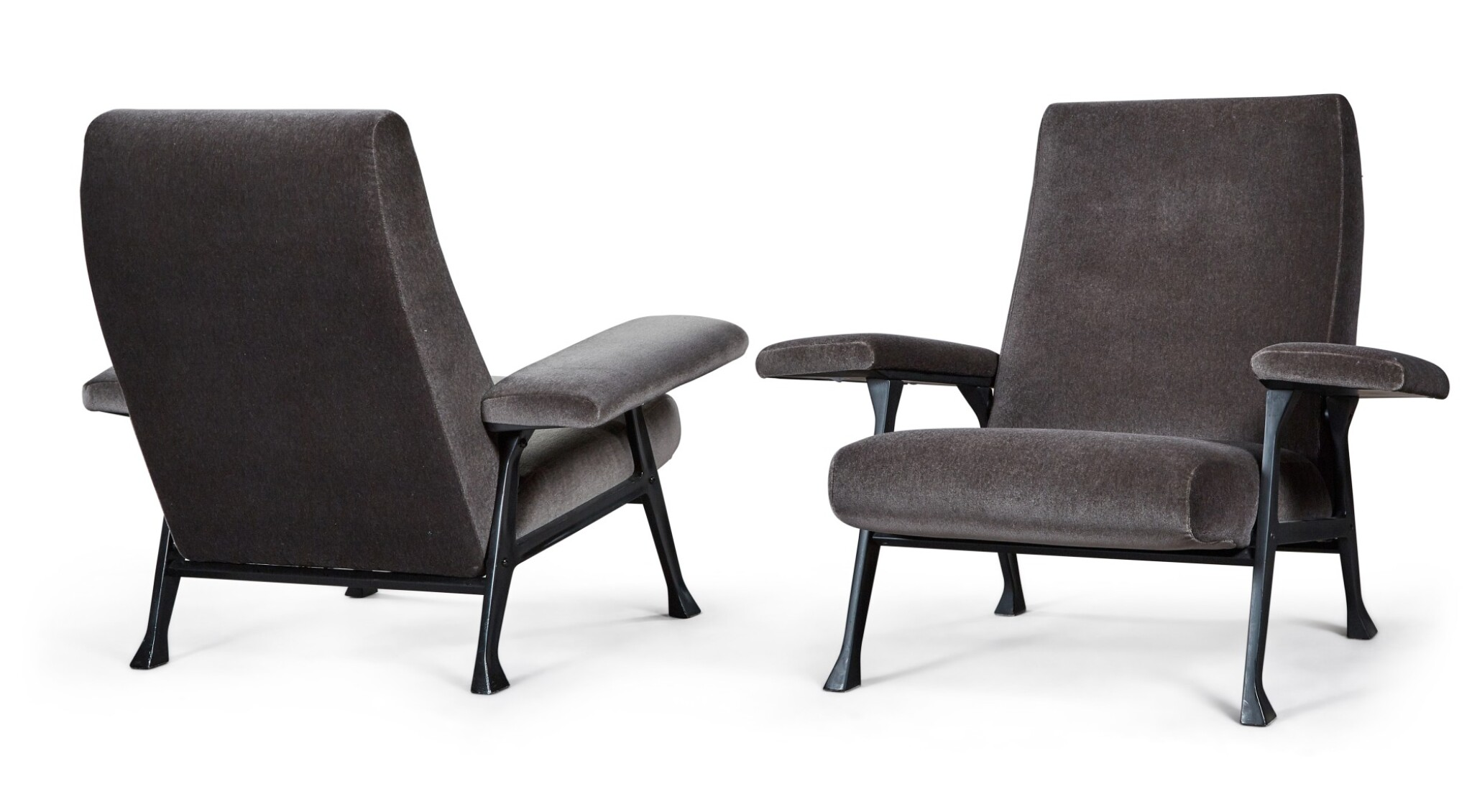 View full screen - View 1 of Lot 179. ROBERTO MENGHI | PAIR OF HALL ARMCHAIRS FOR ARTFLEX.