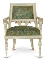 A SET OF FOUR ITALIAN NEOCLASSICAL WHITE PAINTED AND PARCEL-GILT ARMCHAIRS, EARLY 19TH CENTURY