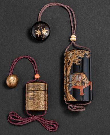 View 2. Thumbnail of Lot 252. Groupe de sept objets en laque Japon, époque Edo - époque Meiji | 日本 江戶至明治時期 漆器一組七件 | A group of seven lacquerwares, Japan, Edo - Meiji period.