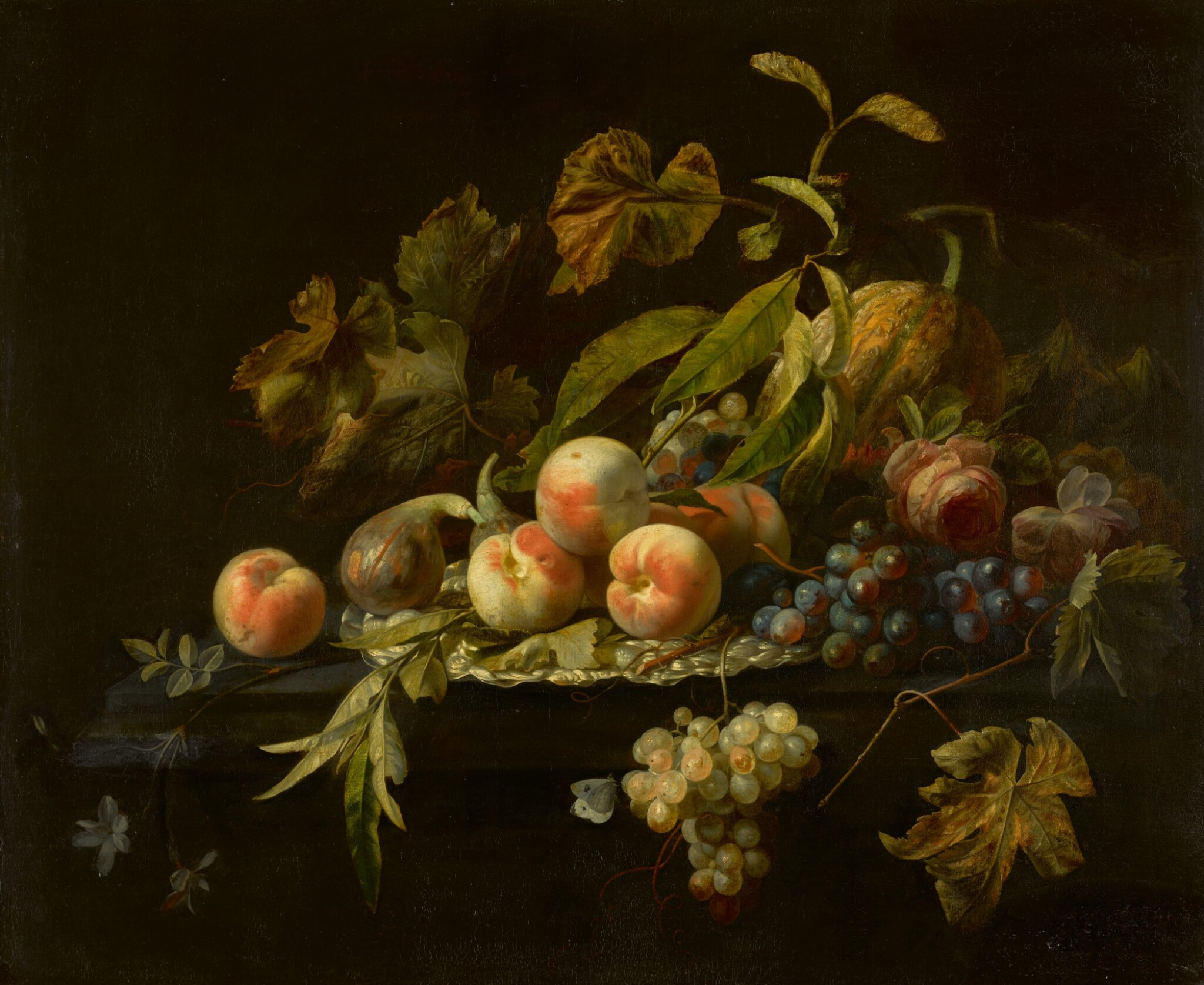 View full screen - View 1 of Lot 57. HERMAN PIETERSZ. VERELST    Still life of peaches, a fig, a watermelon, bunches of grapes and a rose arranged on and around a silver dish on a ledge.
