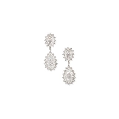 PAIR OF WHITE GOLD AND DIAMOND PENDANT-EARCLIPS, BUCCELLATI
